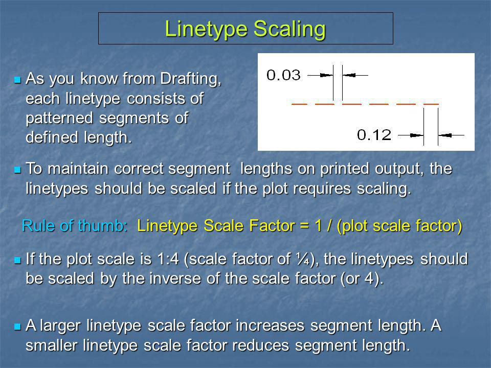 Linetype Scaling As you know from Drafting, each linetype consists of patterned segments of defined length.