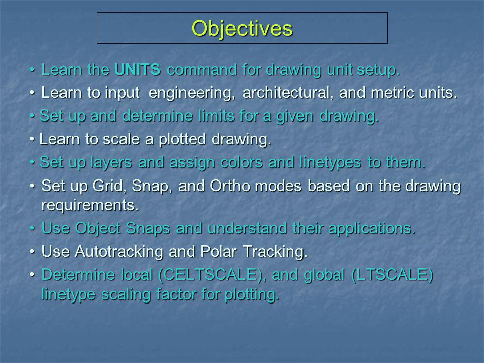 Objectives • Learn the UNITS command for drawing unit setup.
