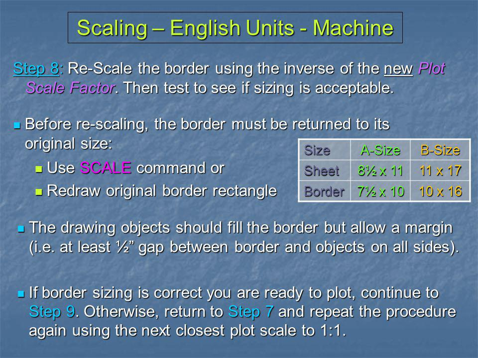 Scaling – English Units - Machine