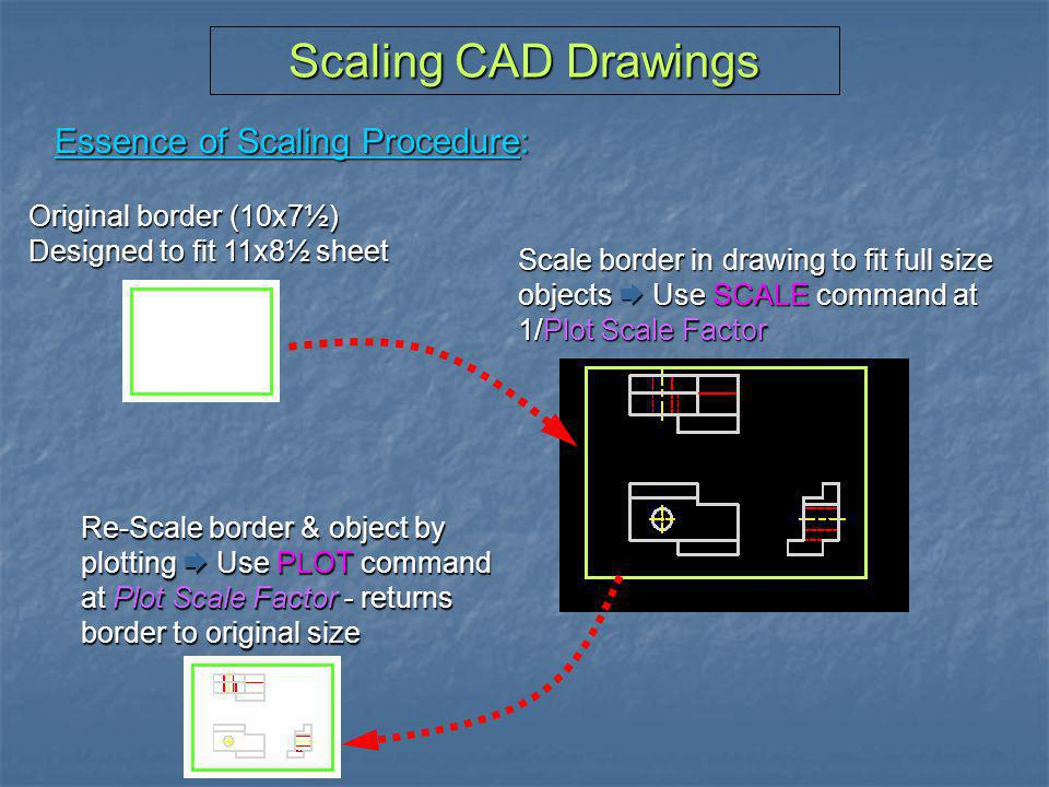 Scaling CAD Drawings Essence of Scaling Procedure: