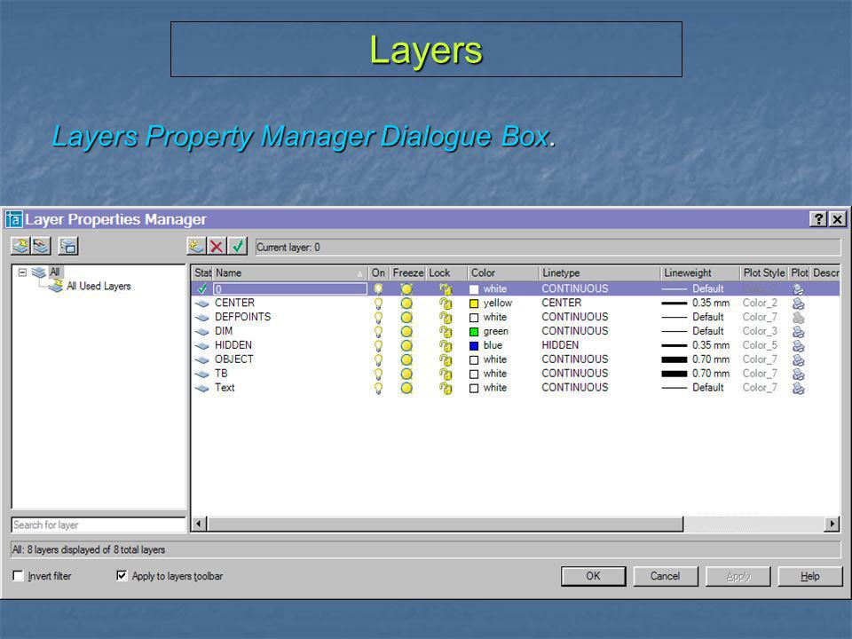 Layers Layers Property Manager Dialogue Box.