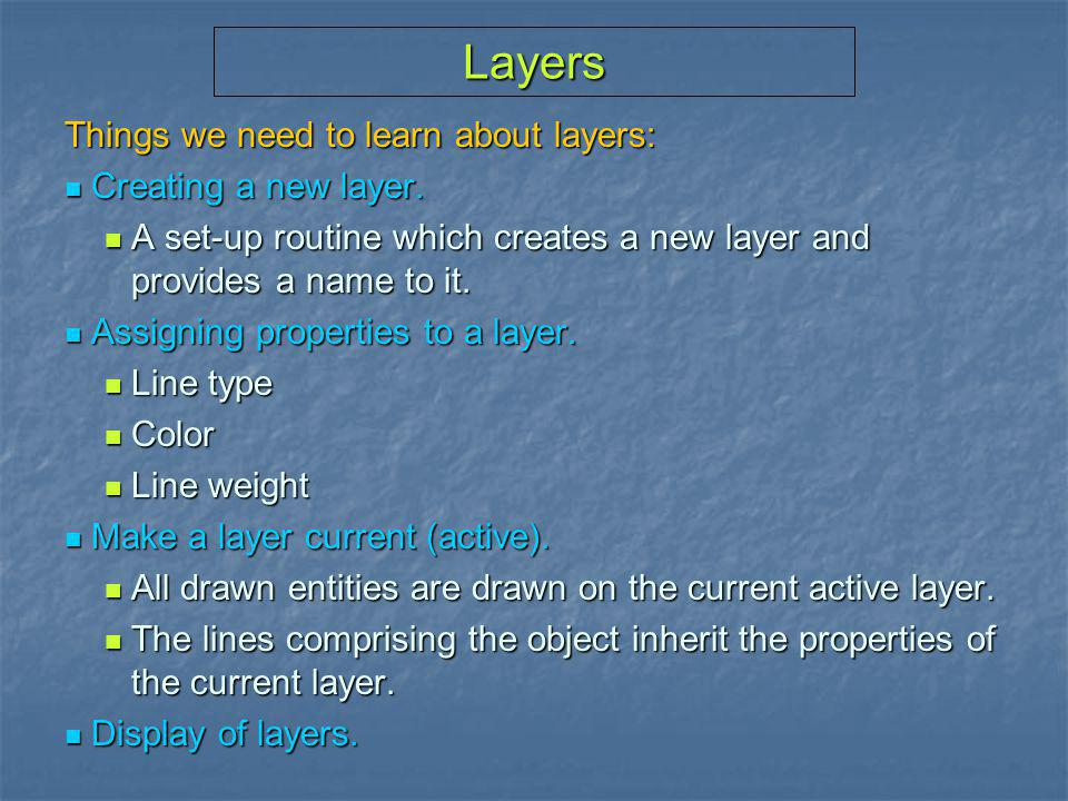 Layers Things we need to learn about layers: Creating a new layer.