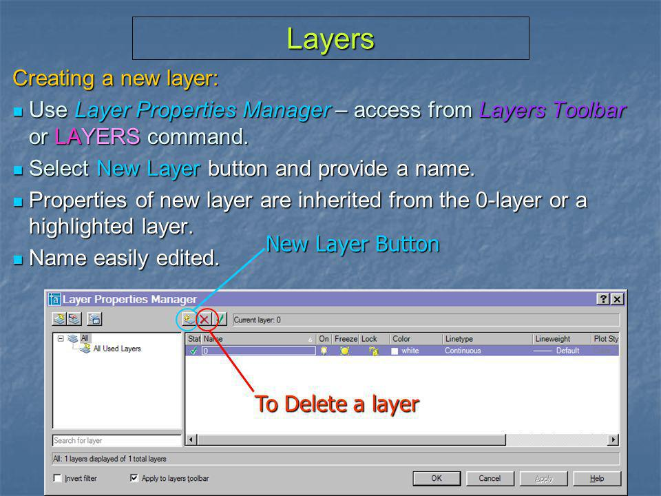 Layers Creating a new layer: