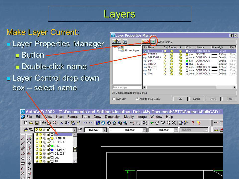 Layers Make Layer Current: Layer Properties Manager Button