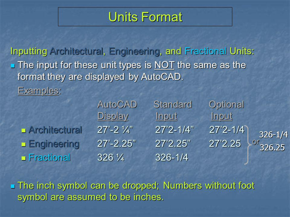 Units Format Inputting Architectural, Engineering, and Fractional Units: