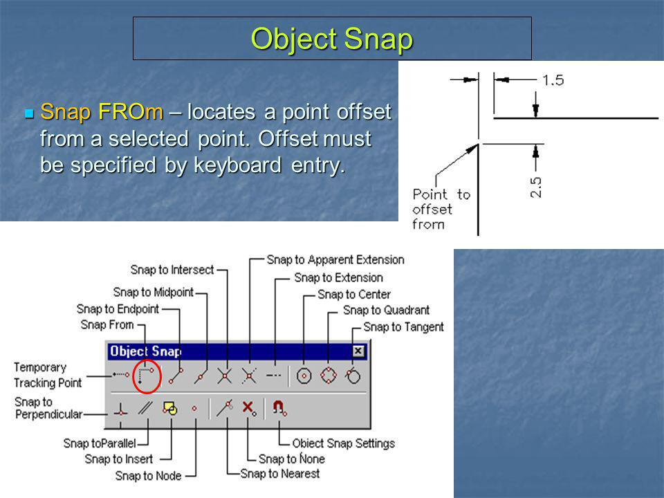 Object Snap Snap FROm – locates a point offset from a selected point.