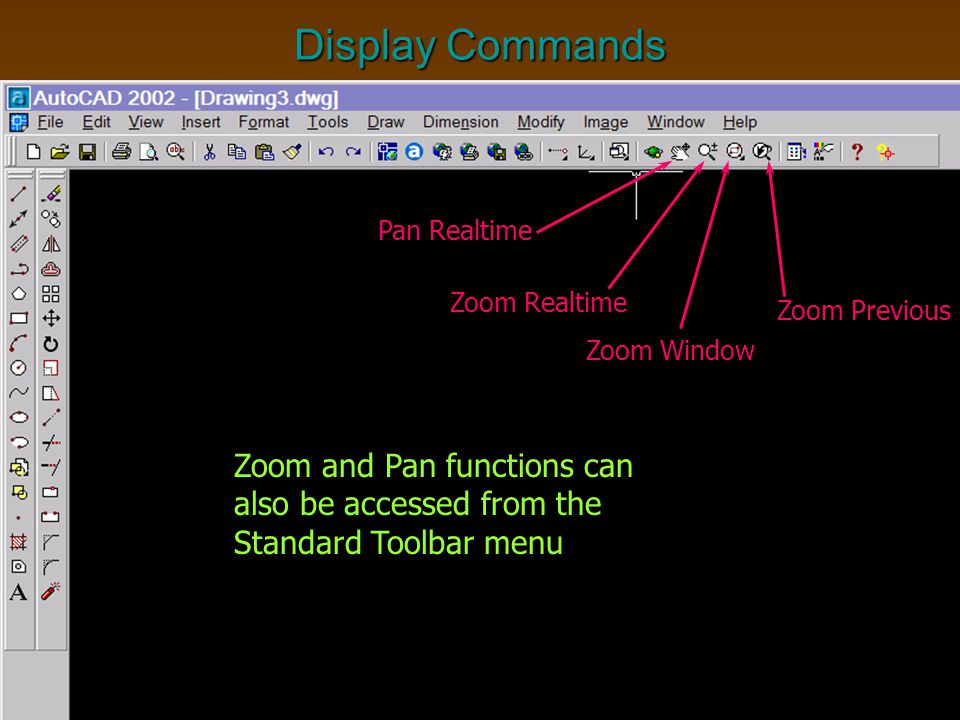 Display Commands Pan Realtime. Zoom Realtime. Zoom Previous. Zoom Window.