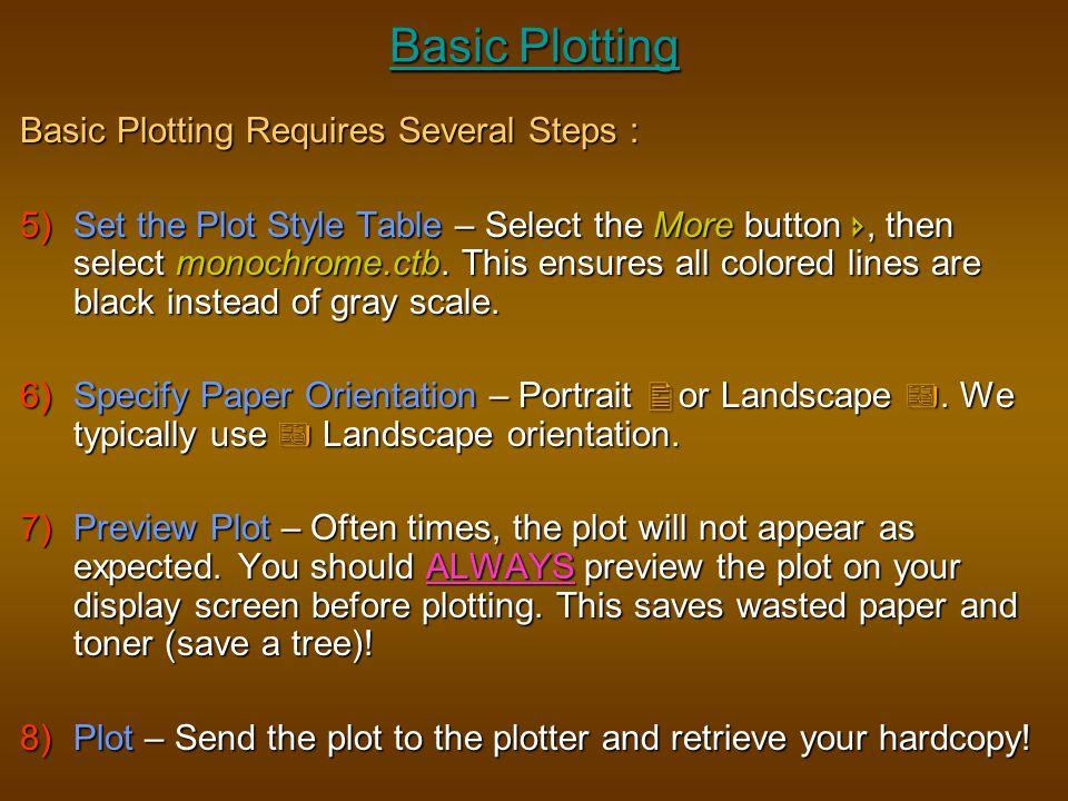 Basic Plotting Basic Plotting Requires Several Steps :