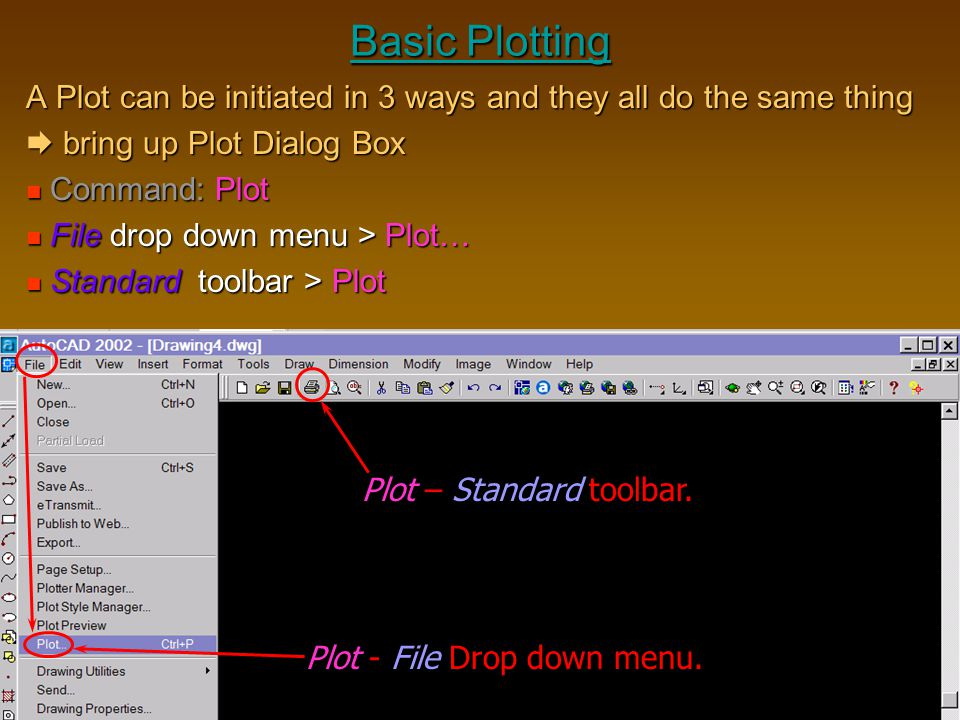 Basic Plotting A Plot can be initiated in 3 ways and they all do the same thing.  bring up Plot Dialog Box.