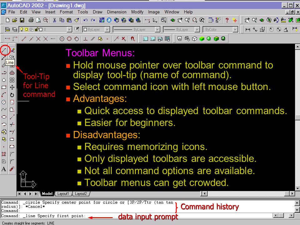 Select command icon with left mouse button. Advantages: