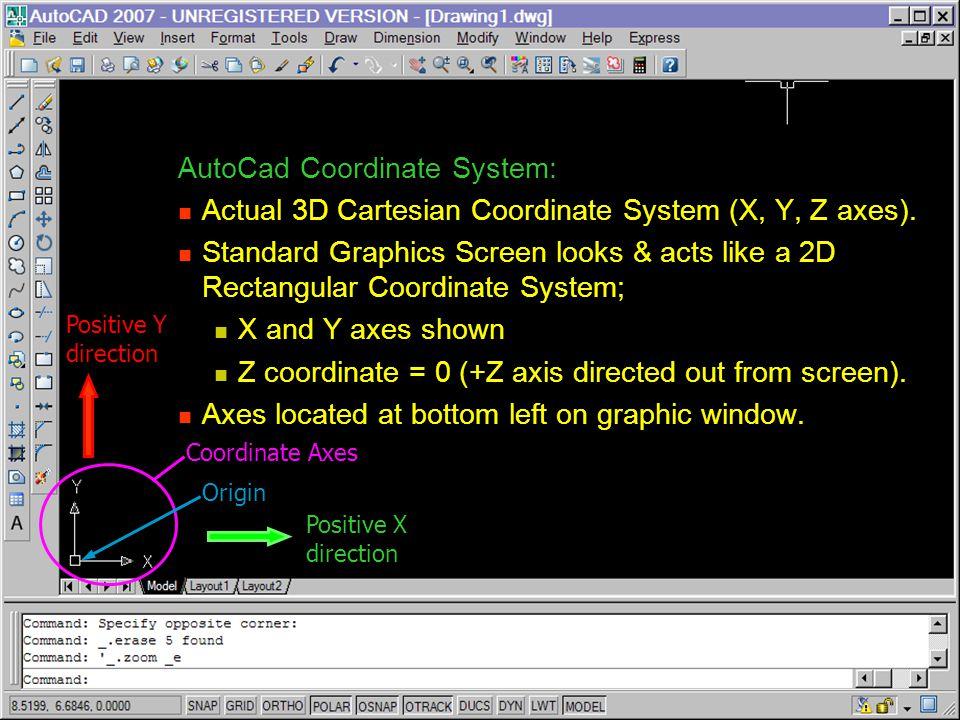 AutoCad Coordinate System:
