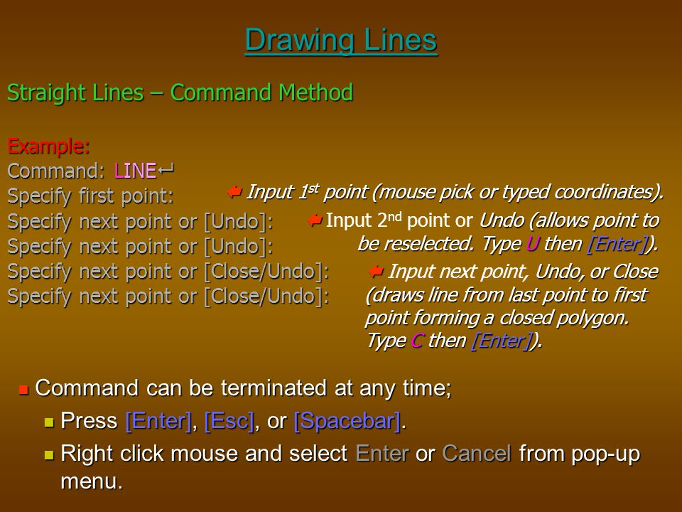 Drawing Lines Straight Lines – Command Method