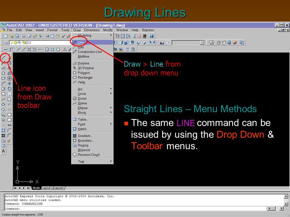 Drawing Lines Straight Lines – Menu Methods
