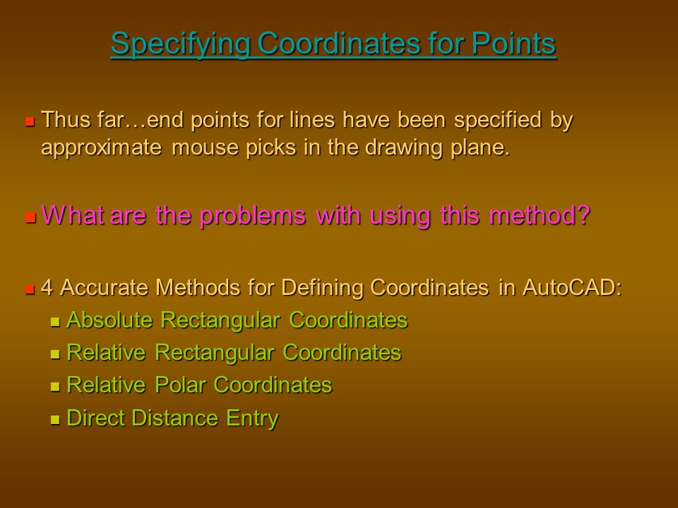 Specifying Coordinates for Points