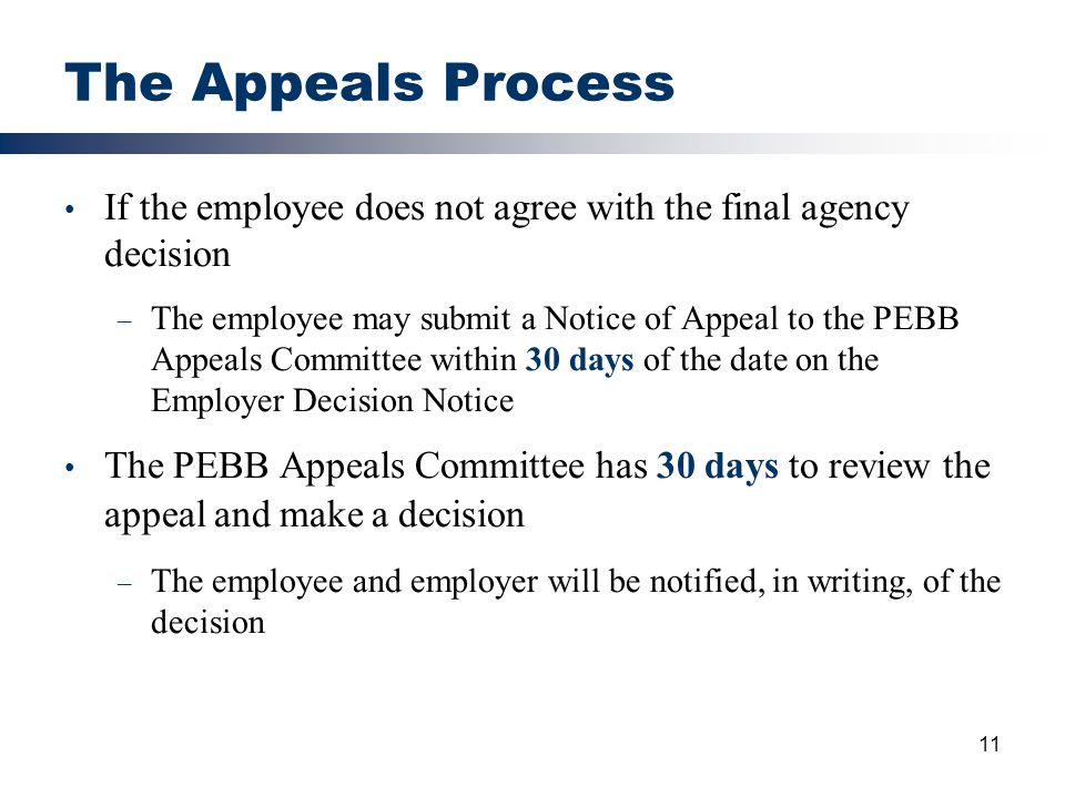 The Appeals Process If the employee does not agree with the final agency decision.
