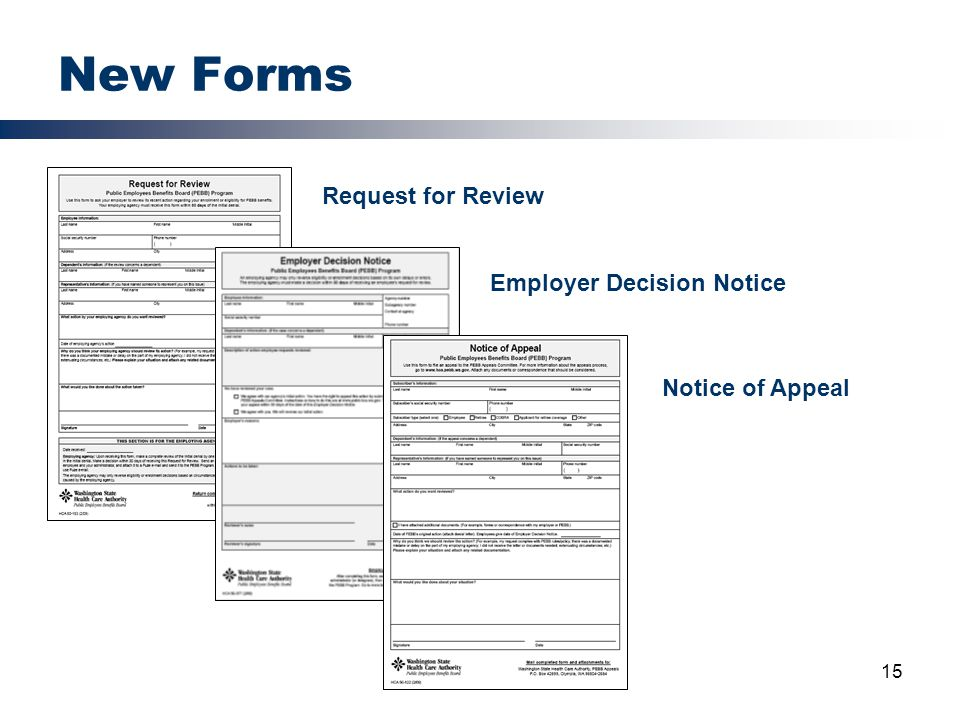 New Forms Request for Review Employer Decision Notice Notice of Appeal