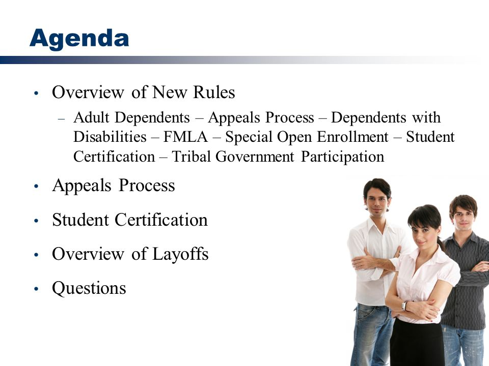 Agenda Overview of New Rules Appeals Process Student Certification