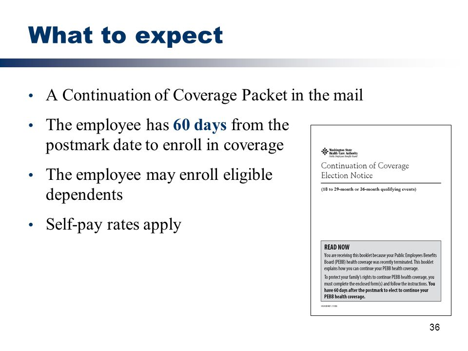 What to expect A Continuation of Coverage Packet in the mail
