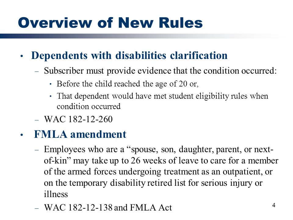 Overview of New Rules Dependents with disabilities clarification