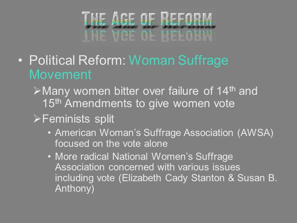 Political Reform: Woman Suffrage Movement