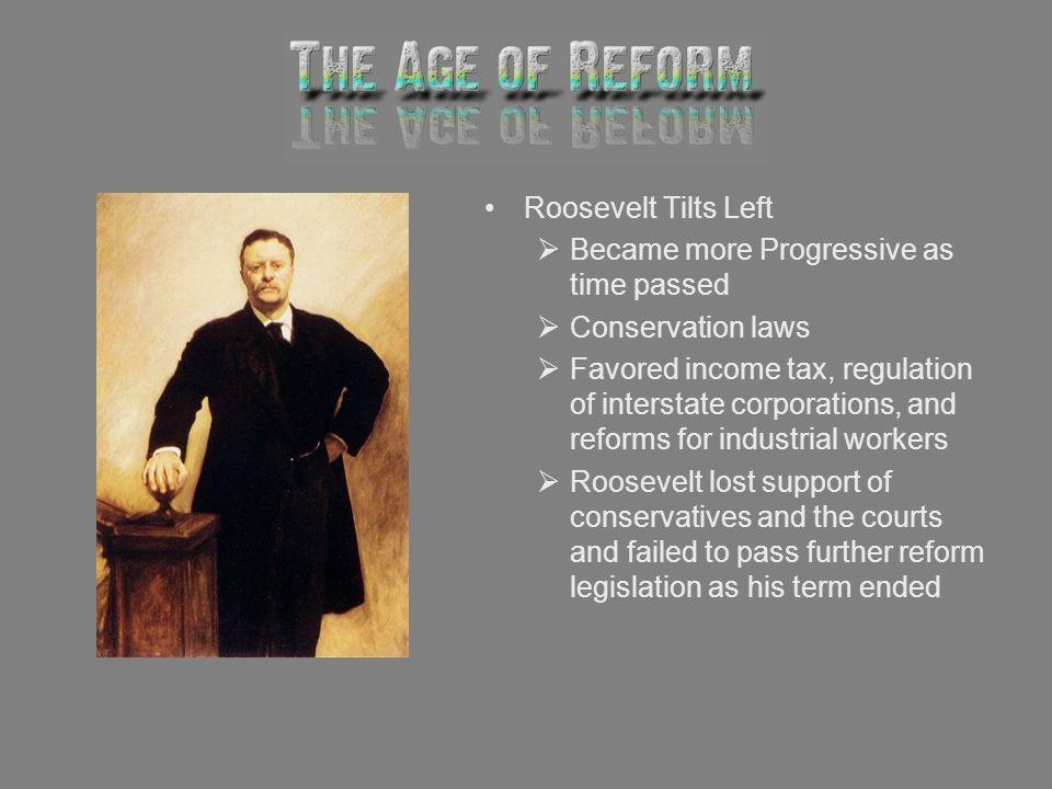 Roosevelt Tilts Left Became more Progressive as time passed. Conservation laws.