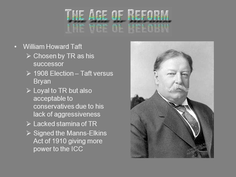 William Howard Taft Chosen by TR as his successor. 1908 Election – Taft versus Bryan.