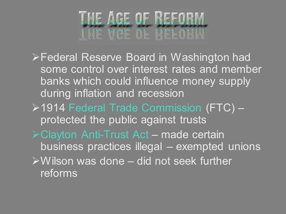 Federal Reserve Board in Washington had some control over interest rates and member banks which could influence money supply during inflation and recession