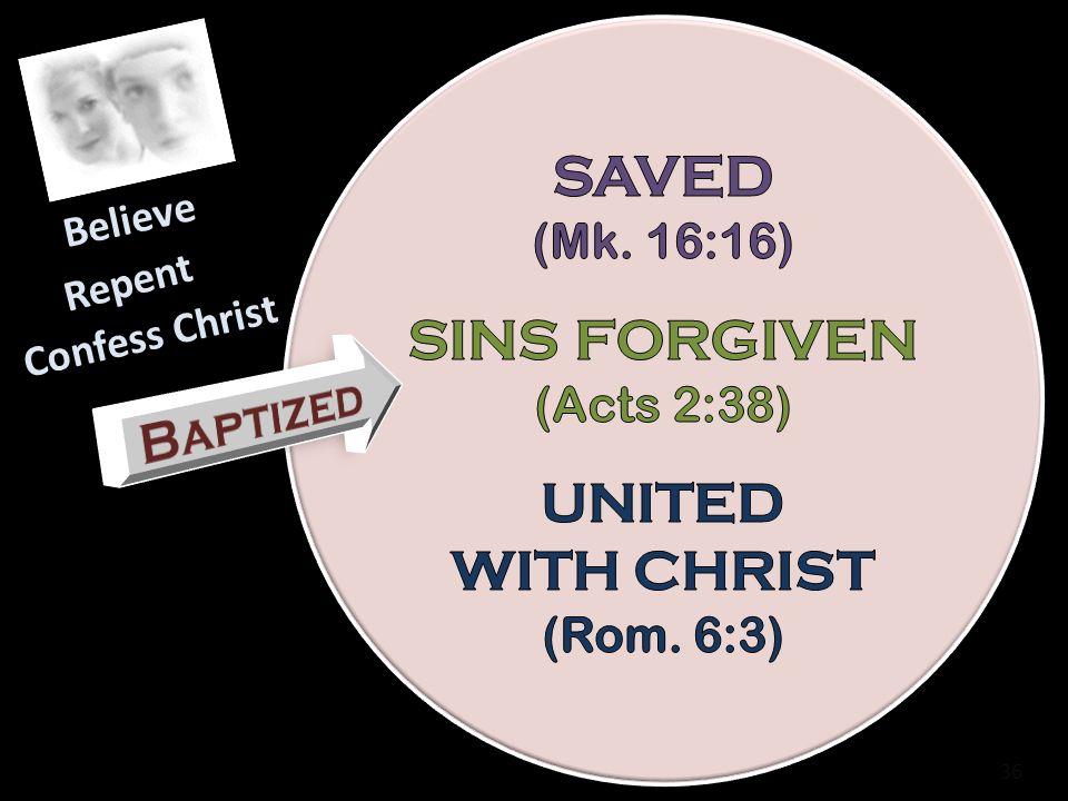 SAVED SINS FORGIVEN UNITED WITH CHRIST Baptized (Mk. 16:16)