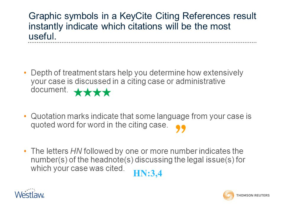 Graphic symbols in a KeyCite Citing References result instantly indicate which citations will be the most useful.