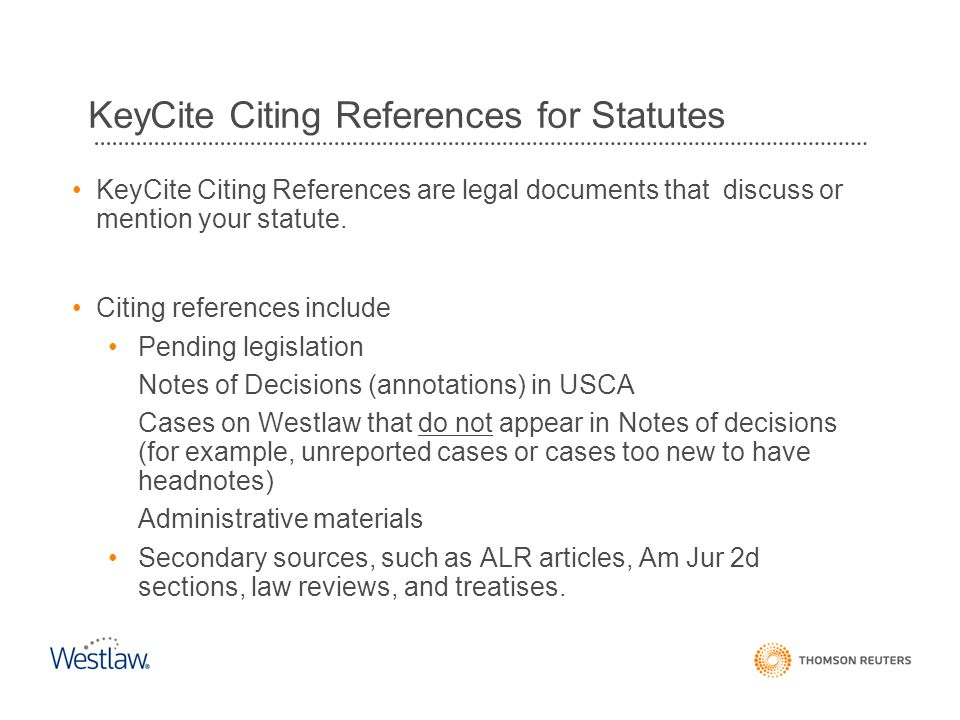 KeyCite Citing References for Statutes