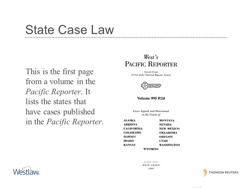 State Case Law This is the first page from a volume in the Pacific Reporter.