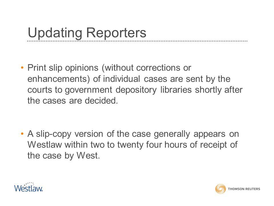 Updating Reporters