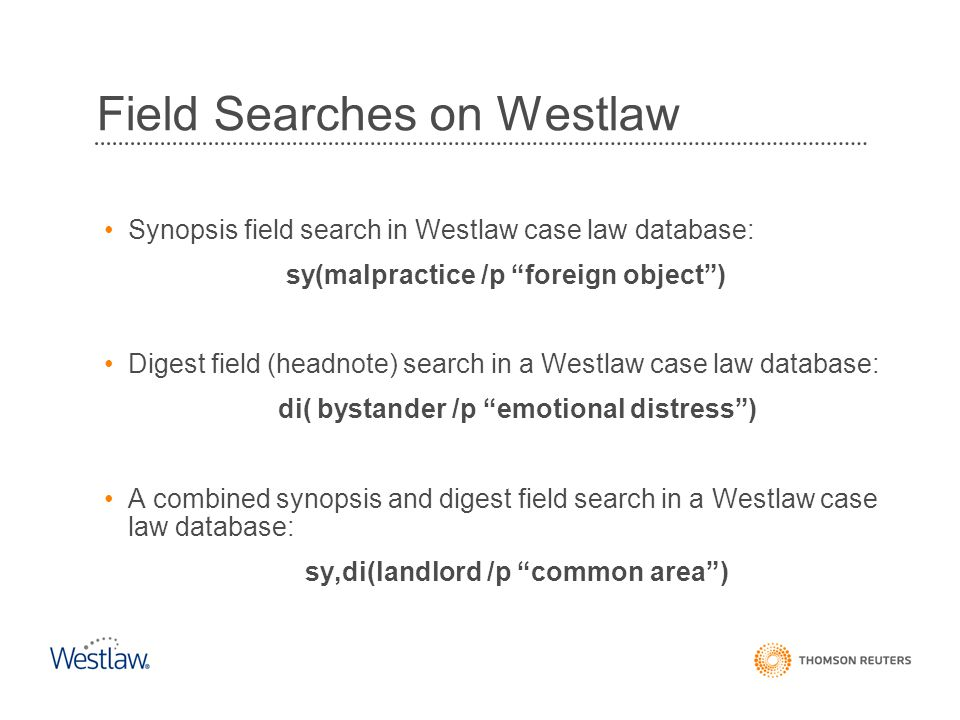 Field Searches on Westlaw