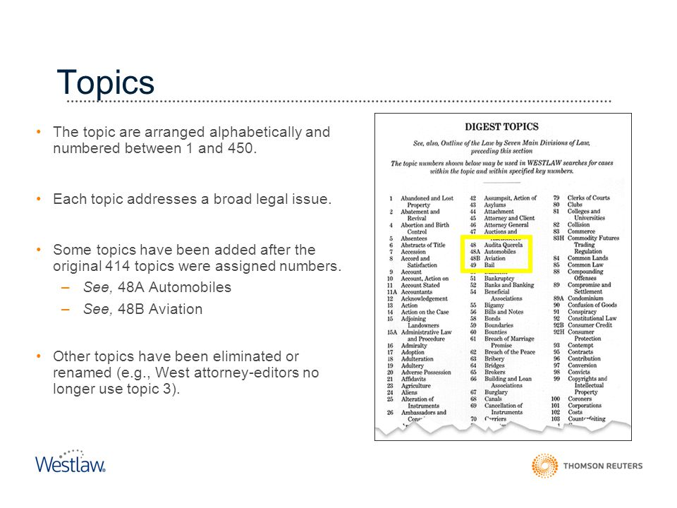 Topics The topic are arranged alphabetically and numbered between 1 and 450. Each topic addresses a broad legal issue.
