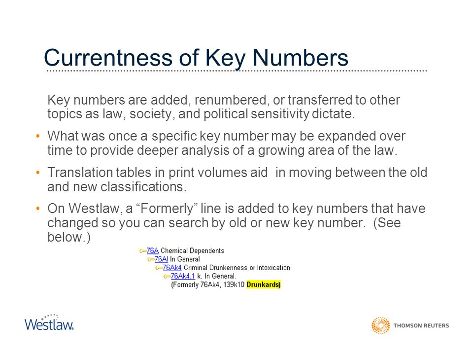 Currentness of Key Numbers