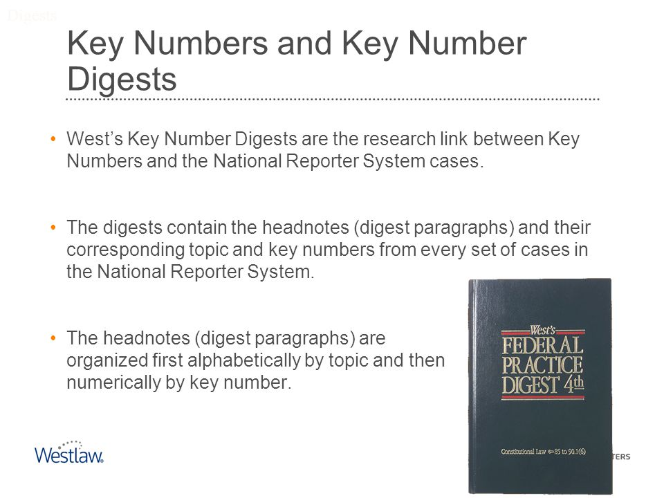 Key Numbers and Key Number Digests