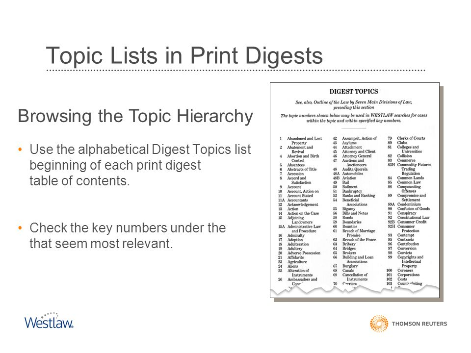 Topic Lists in Print Digests