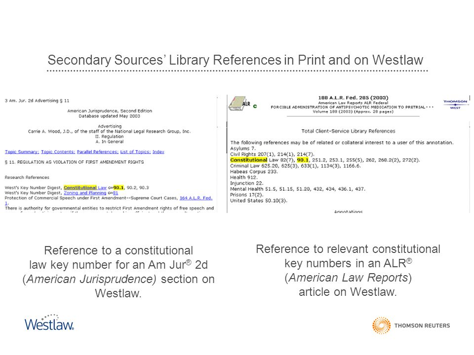 Secondary Sources' Library References in Print and on Westlaw
