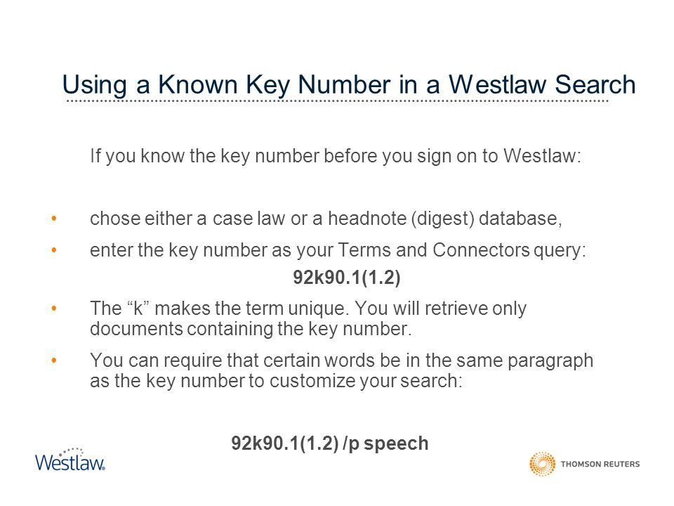 Using a Known Key Number in a Westlaw Search