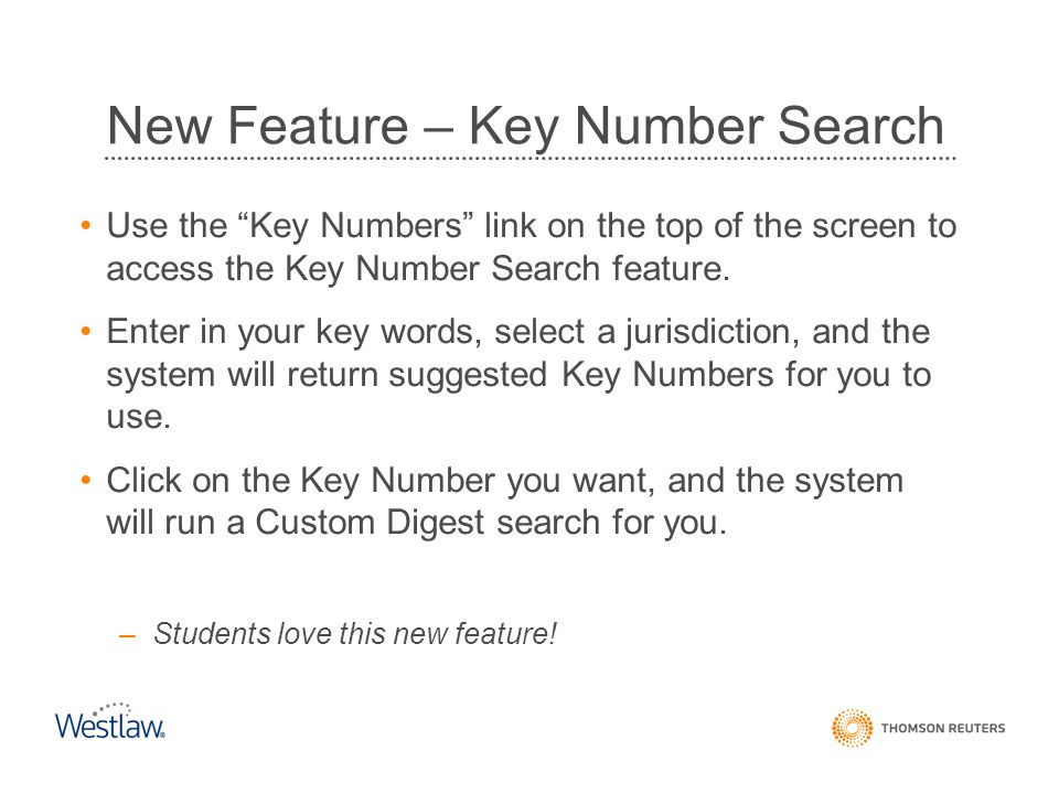 New Feature – Key Number Search