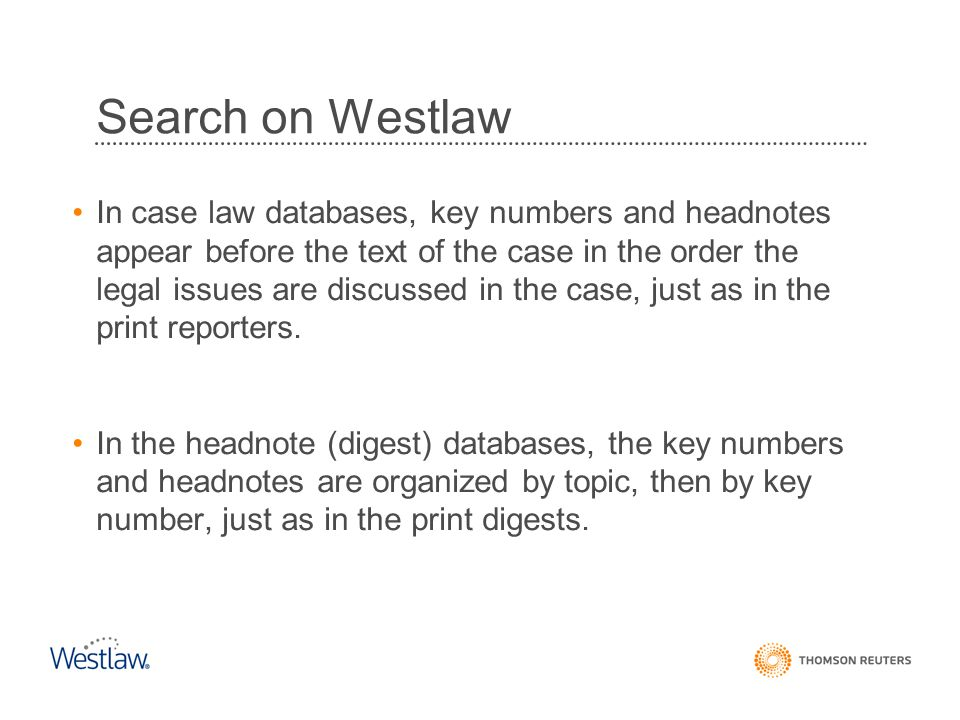 Search on Westlaw