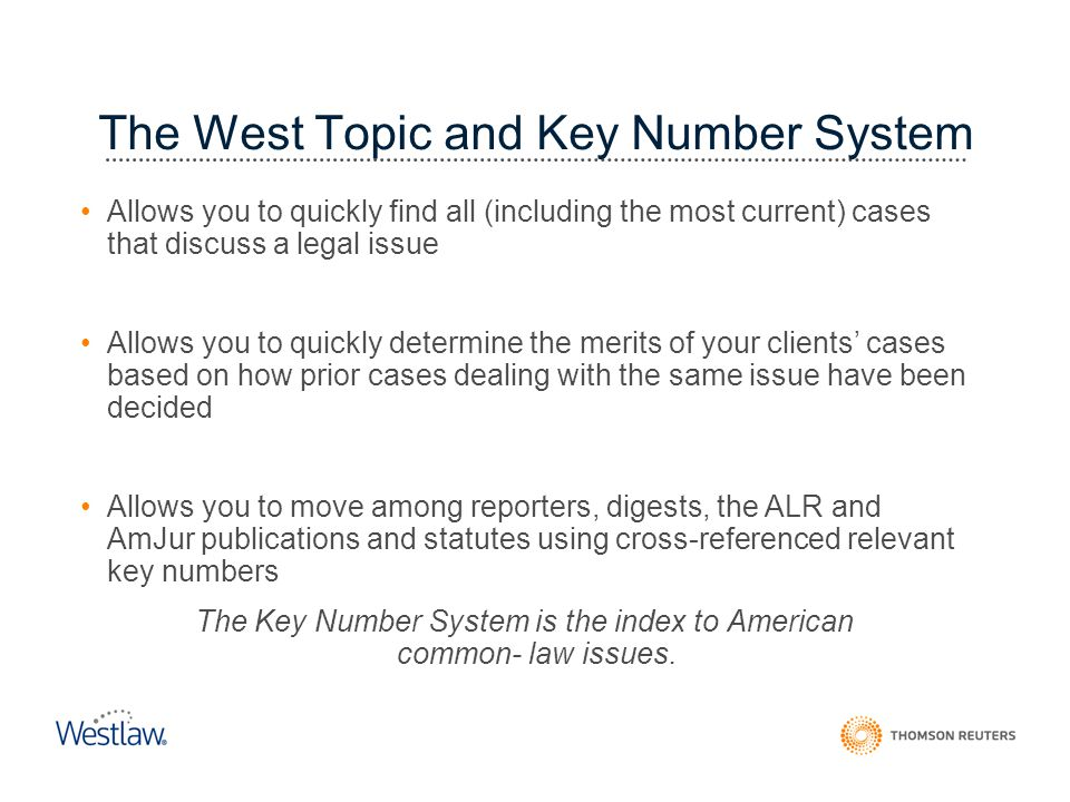 The West Topic and Key Number System