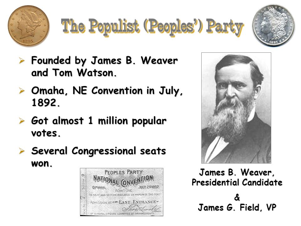 The Populist (Peoples') Party James B. Weaver, Presidential Candidate