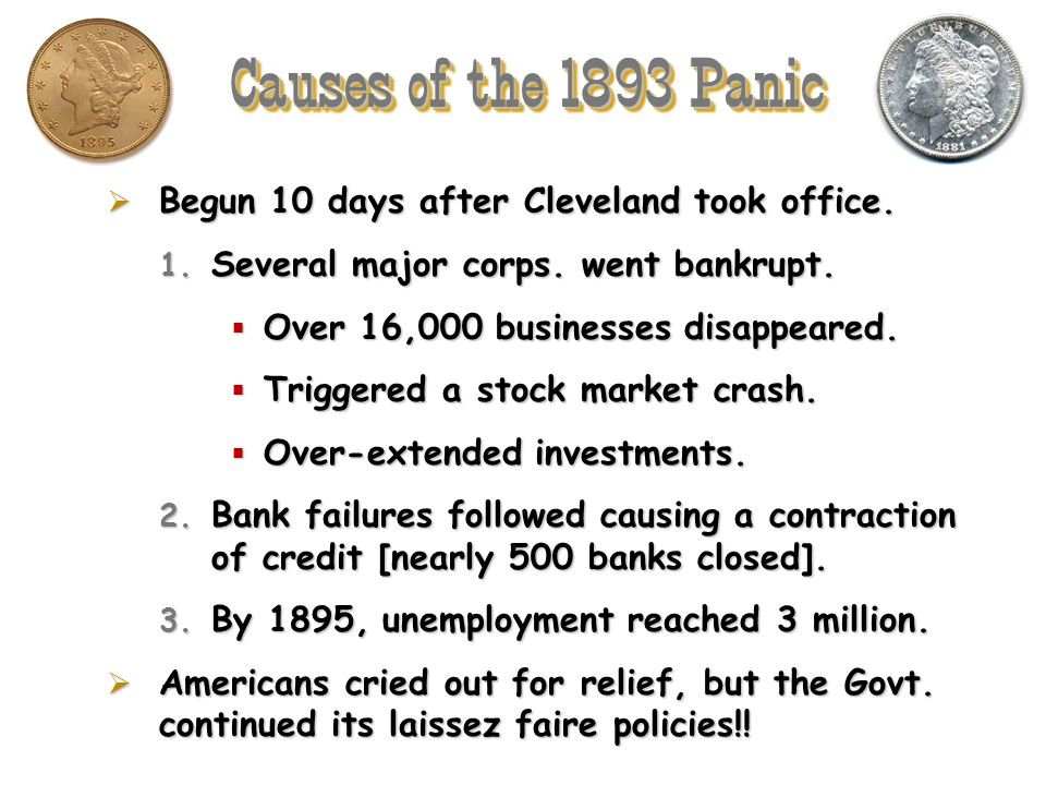 Causes of the 1893 Panic Begun 10 days after Cleveland took office.