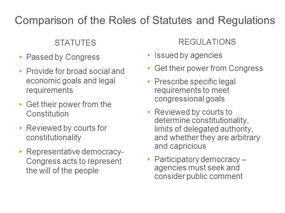 Comparison of the Roles of Statutes and Regulations