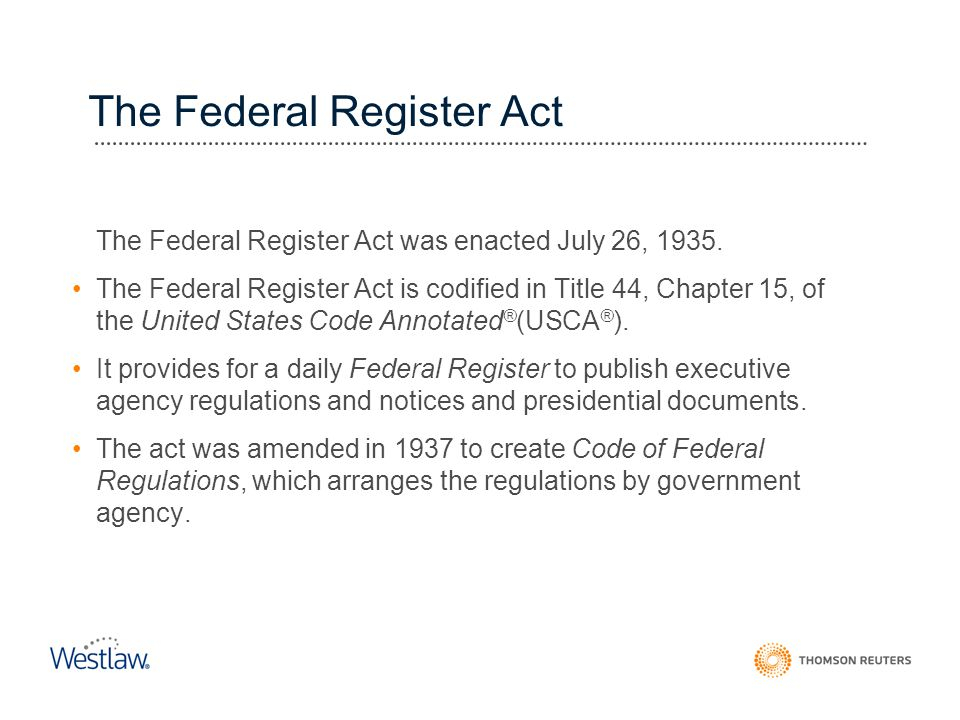 The Federal Register Act