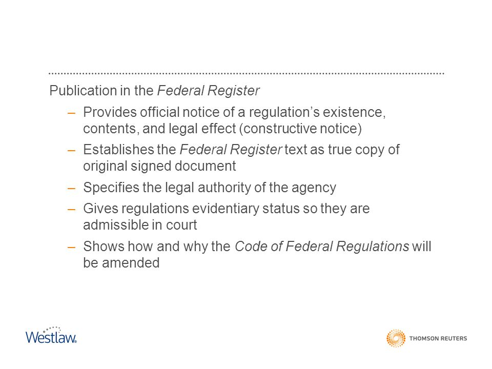 Publication in the Federal Register