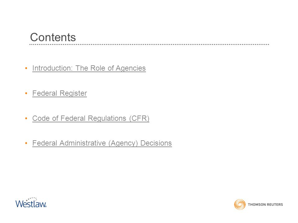Contents Introduction: The Role of Agencies Federal Register