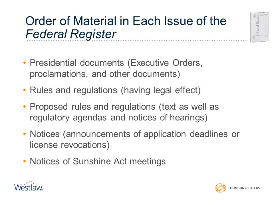 Order of Material in Each Issue of the Federal Register