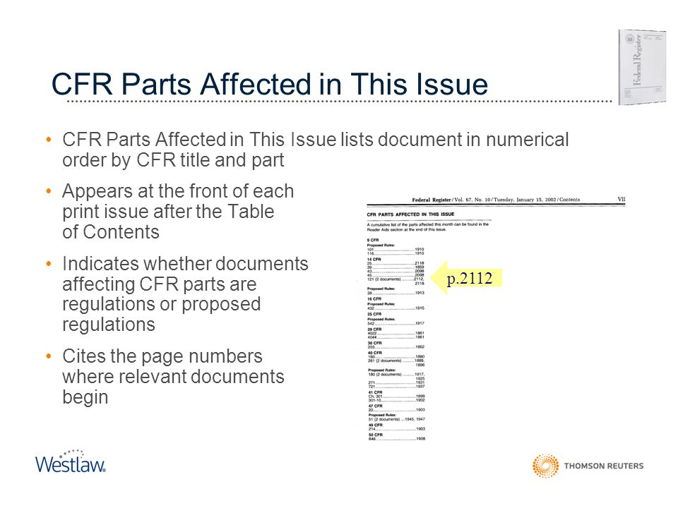 CFR Parts Affected in This Issue